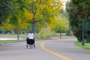 乳母車に子供を乗せ散歩している様子