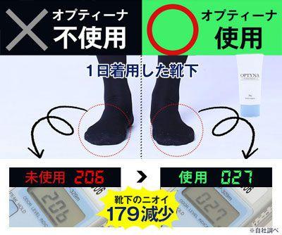 靴下の使用前、使用後の数値