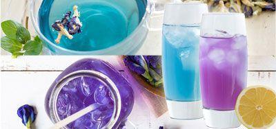 グラスに入ったブルーとパープルのドリンク