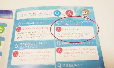 同封された冊子のQ&Aのページを開いた写真