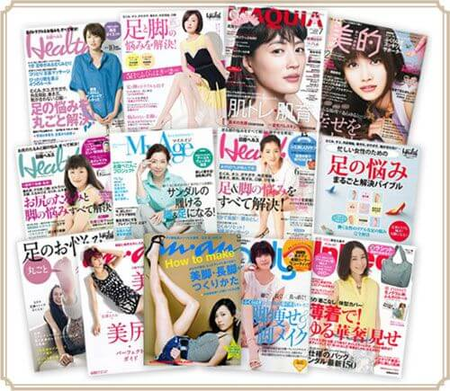 マキアや美的などティノンが掲載された女性誌が並んでいる