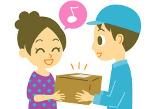 配達員から荷物を笑顔で受け取る女性のイラスト