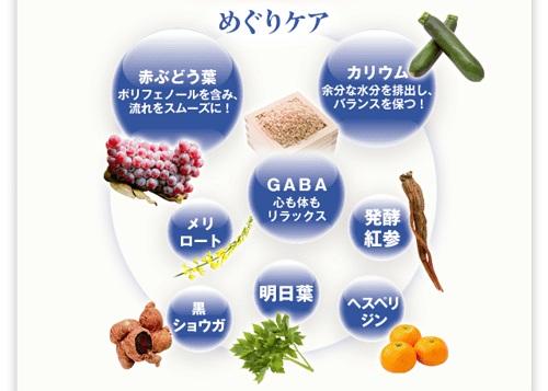 赤ブドウ・カリウム・ギャバ・メリロート・黒ショウガ・明日葉・発酵紅参・ヘスペリジン