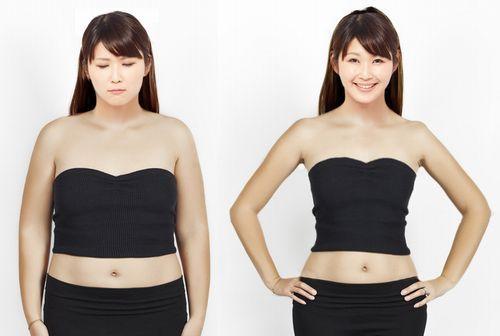 若い女性のダイエットビフォーアフター画像